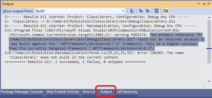 Output Window in Visual Studio