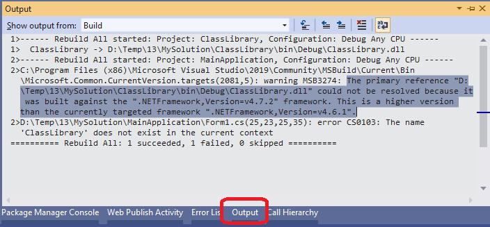Output Window in Visual Studio