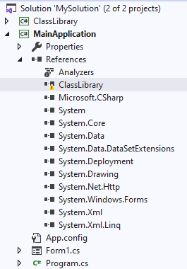 Project hierarchy in Solution Explorer in Visual Studio