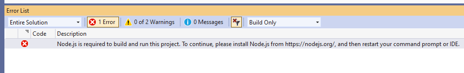 Error in Error List: Node.js is required to build and run this project